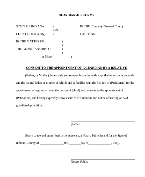 Guardianship Form Power Of Attorney Letter For Child Care Templates