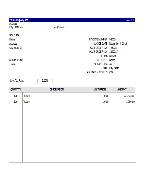 free invoice template excel