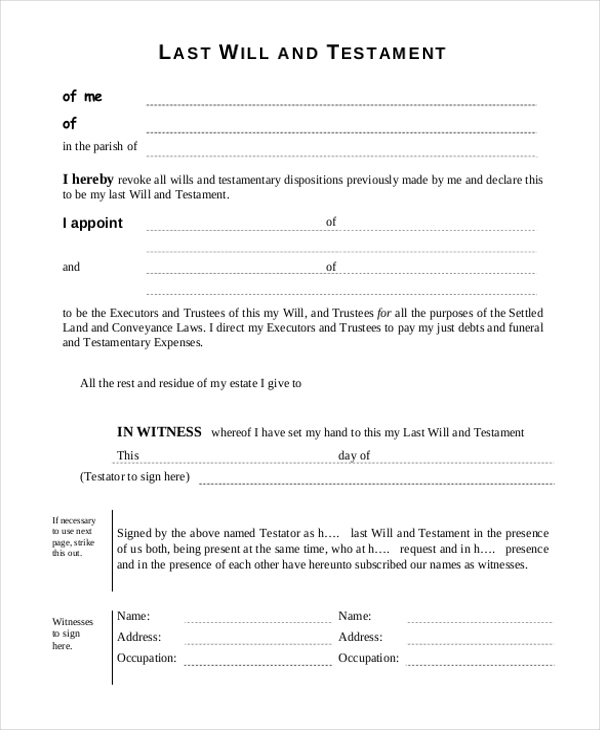 Sample free will form 9 free documents in pdf for Template for wills for free
