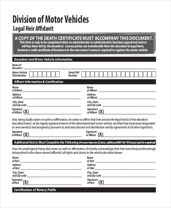 free legal affidavit form