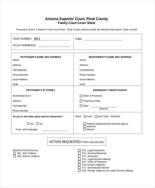 free legal separation form