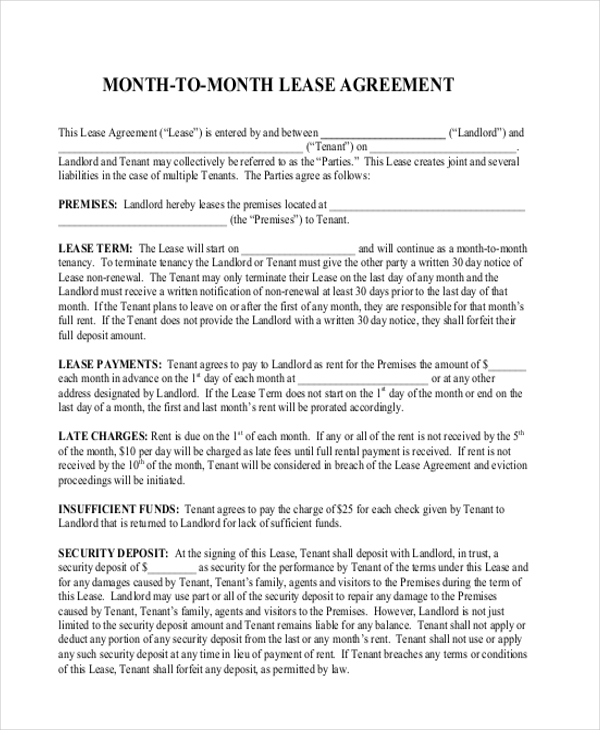free month to month lease agreement form1