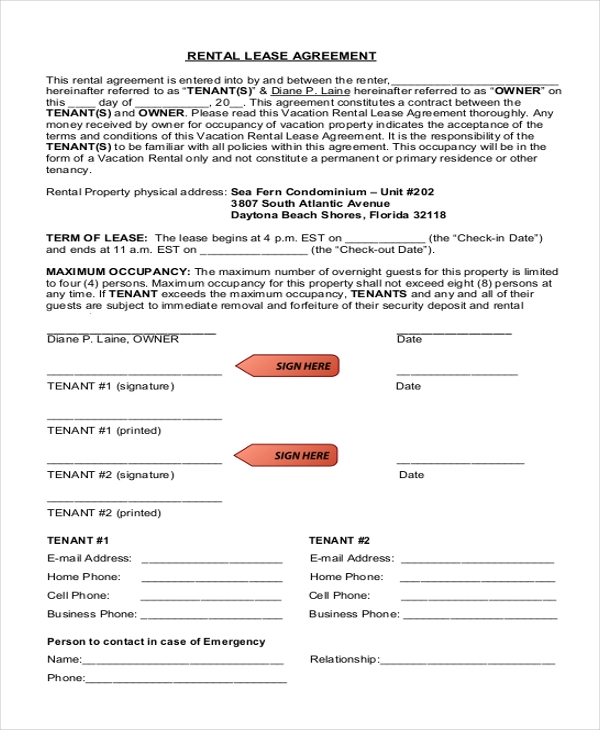 free rental lease agreement form1