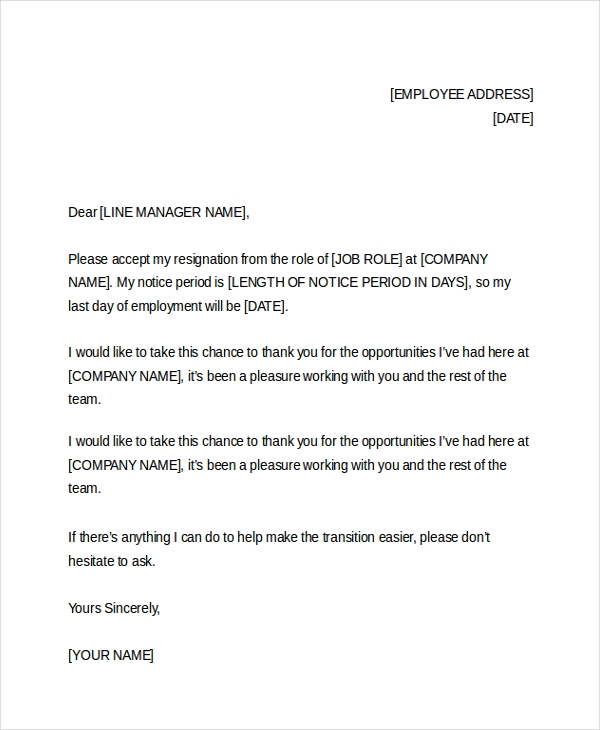 free sample resignation letter word format