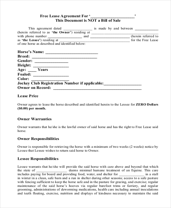 Simple Lease Agreement Form   Free Documents In Doc