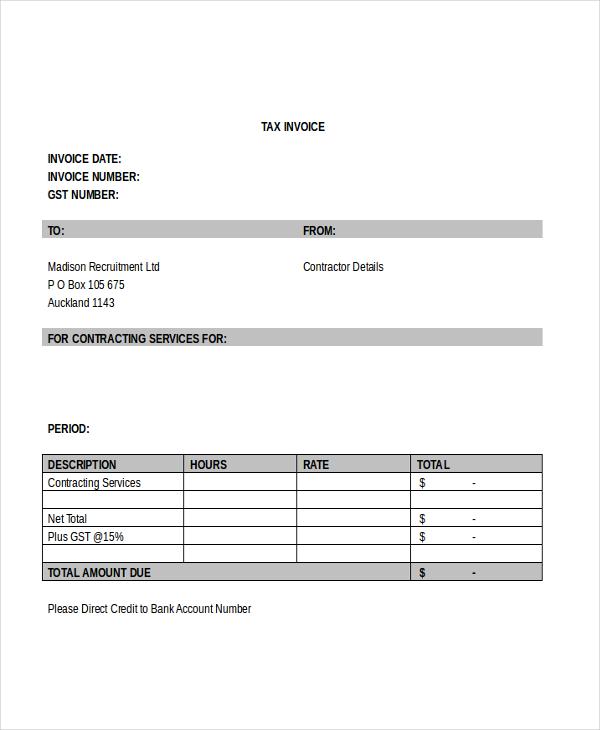 free contractor invoice