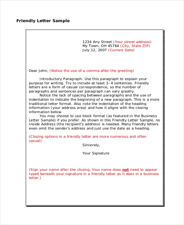 friendly letter sample format