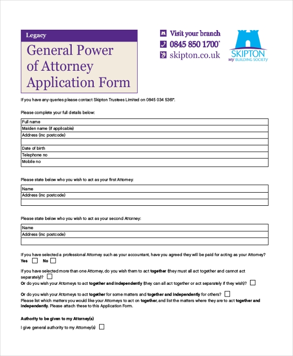 general power of attorney application form