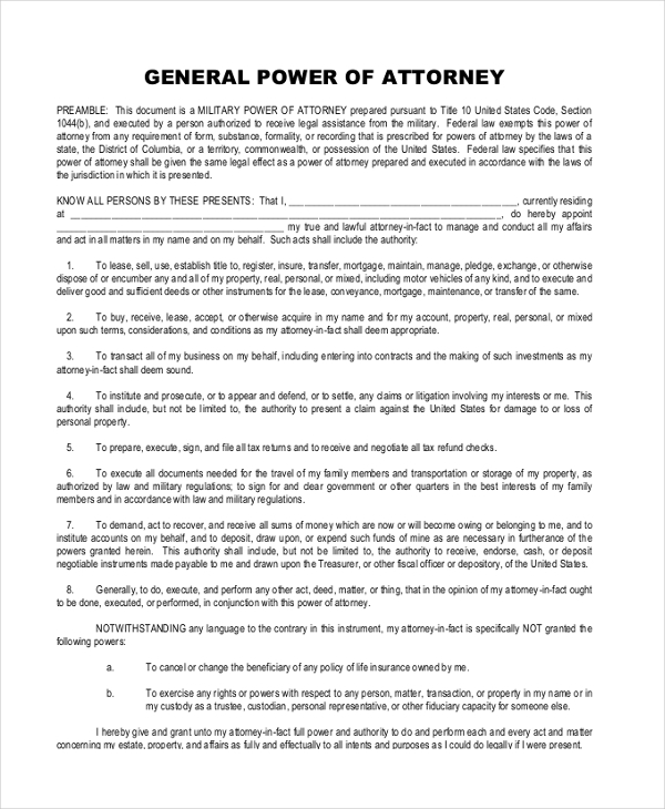 Sample General Power of Attorney 11 Free Documents in PDF Doc – General Power of Attorney Form