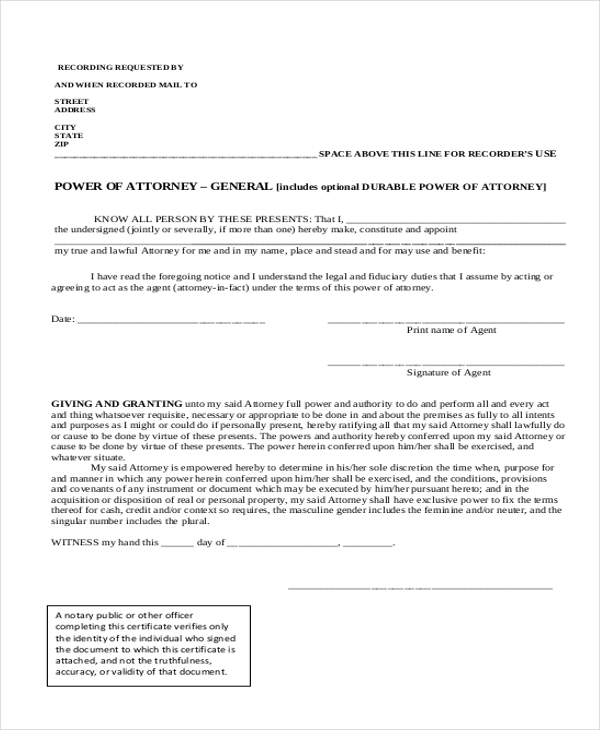 Sample General Power Of Attorney Form - 10+ Free Documents In Doc. Pdf