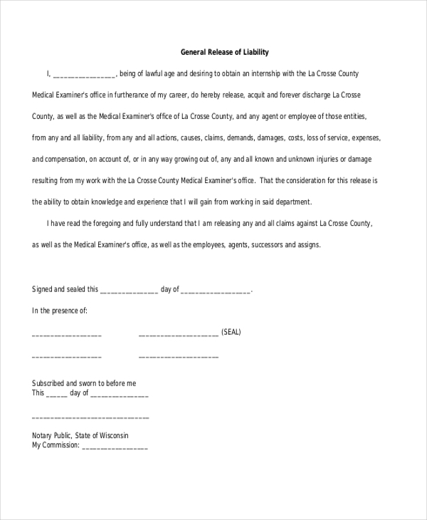 General Release Form General Release Of Liability Form Sample – Free Liability Release Form