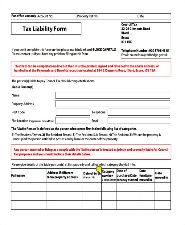 general tax liability form