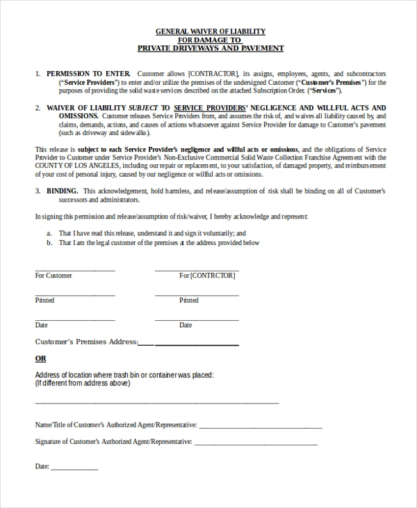 Sample General Waiver Of Liability Form