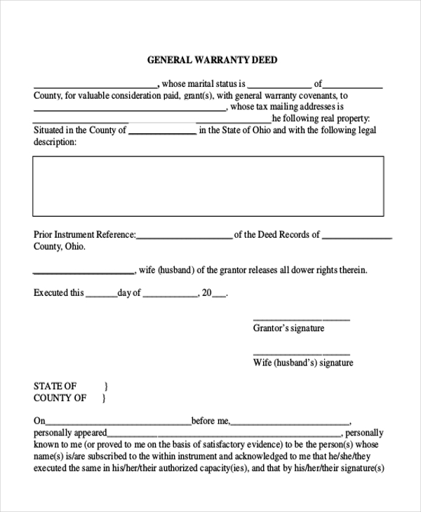 Sample Warranty Deed Form - 11+ Free Documents In Word, Pdf