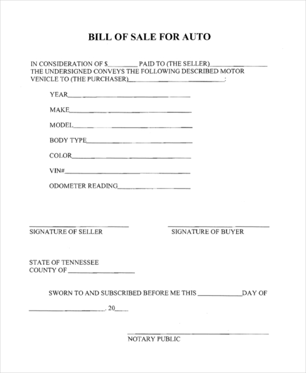 free 10  sample generic bill of sale forms