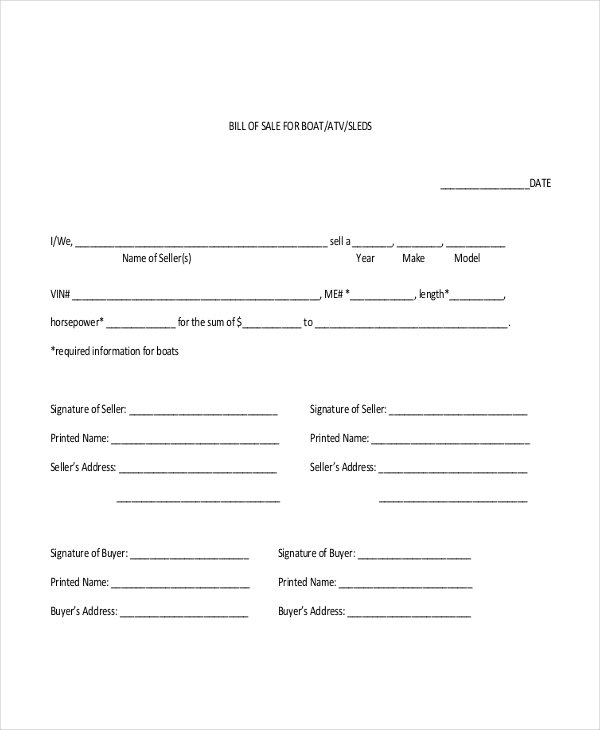 Sample Boat Bill Of Sale Form   Free Documents In Pdf