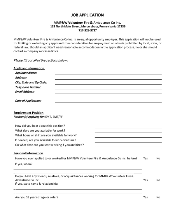 sample generic job application form 9 free documents in doc pdf
