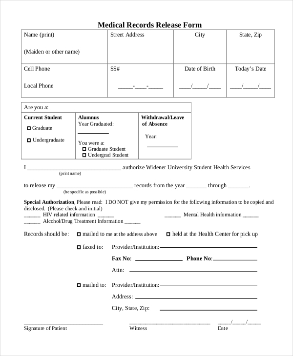Sample Medical Records Release Form   Free Documents In Pdf