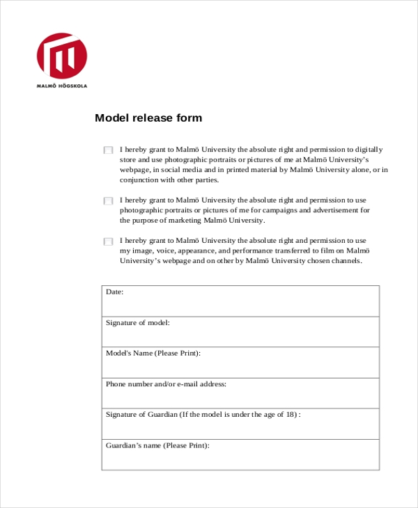Sample Model Release Form   Free Documents In Pdf
