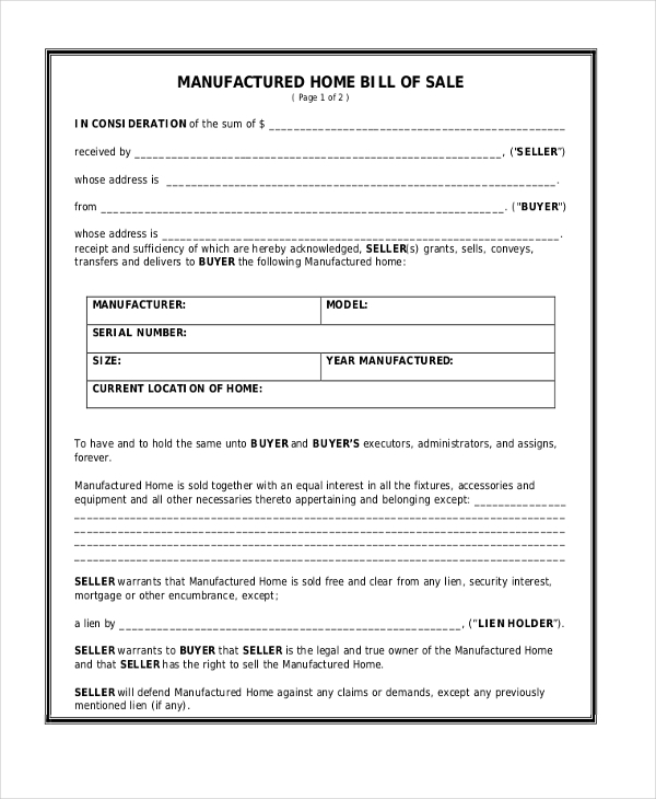 Sample Generic Bill Of Sale Form   Free Documents In Pdf