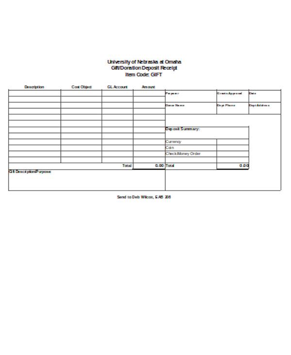 gift deposit receipt form