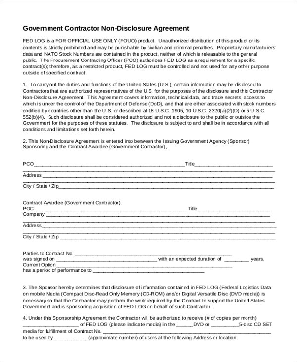 Non Disclosure Agreement Sample Form 10 Sample Example Format