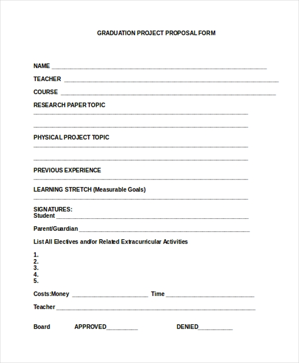 graduation project proposal form