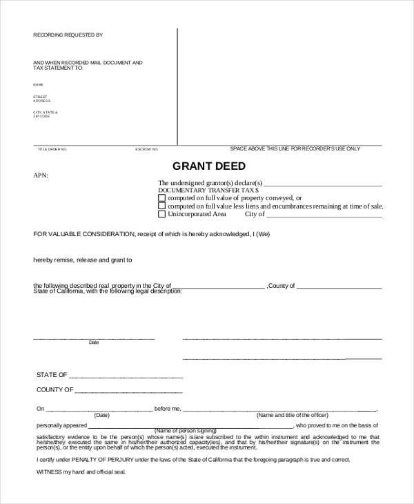 Grant Deed Form. General Warranty Deed With Assumption General