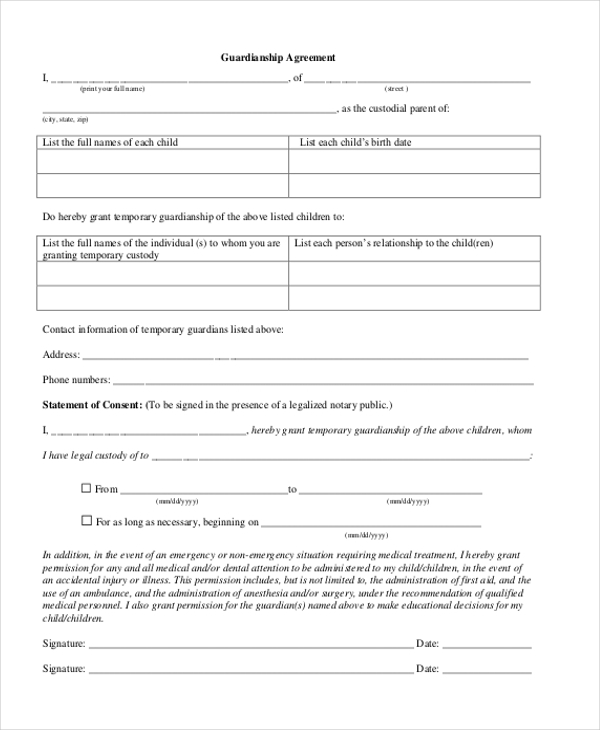Sample Guardianship Form 12 Free Documents in PDF – Temporary Guardianship Forms