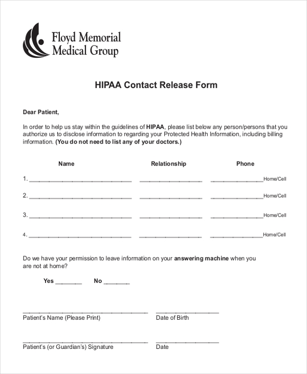 Sample Hipaa Release Forms   Free Documents In Pdf