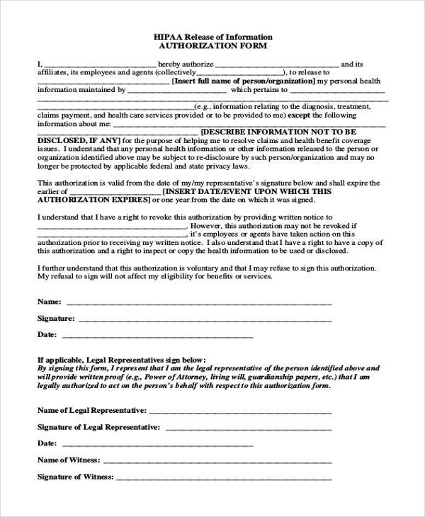 hipaa release of information authorization form