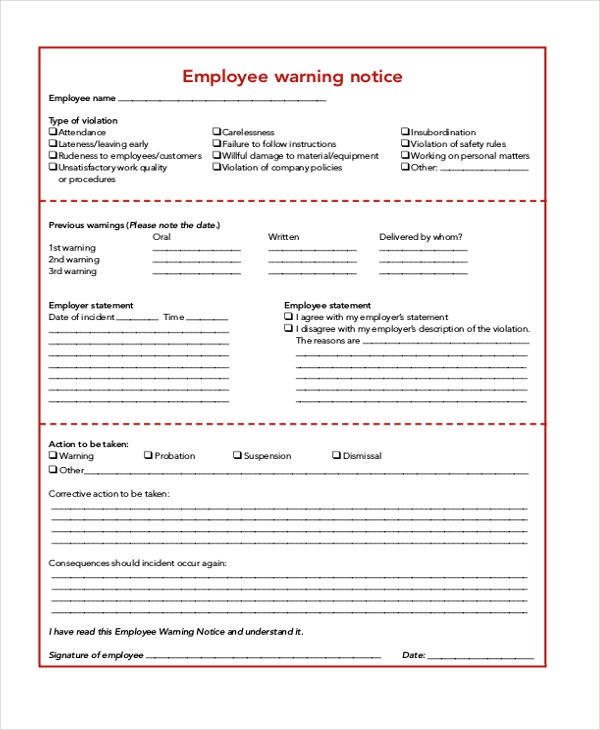 Employee Notice Form Aemployeewarningnoticexl Jpg Employment