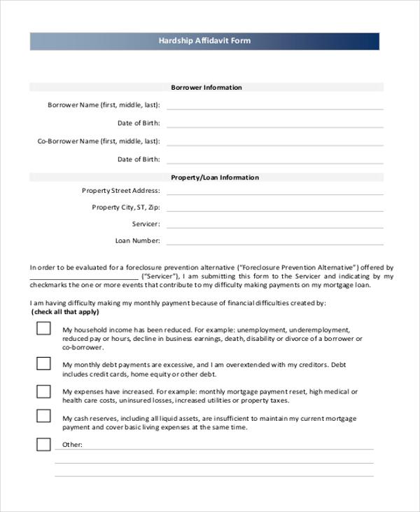 hardship affidavit form