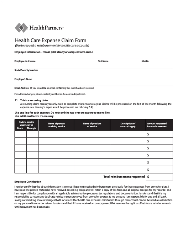 health care expense claim form