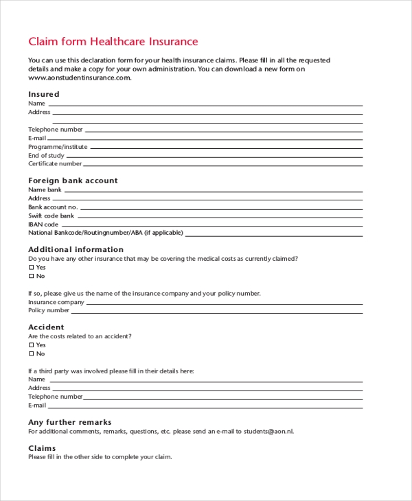 health care insurance claim form