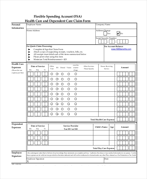 Sample Health Care Claim Form - 11+ Sample Documents In Pdf