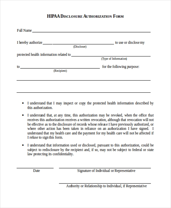 free 9  sample hipaa authorization forms in pdf