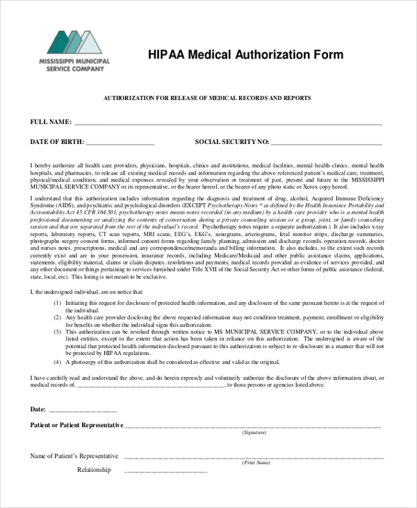 hipaa medical authorization form