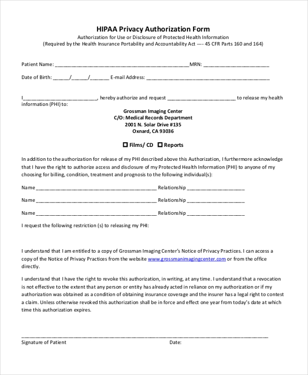 Sample Hipaa Authorization Form - 9+ Free Doents in Doc, PDF on hipaa patient consent forms, hipaa compliance forms, sample hipaa patient form, hipaa release and authorization form, hipaa patient release form,
