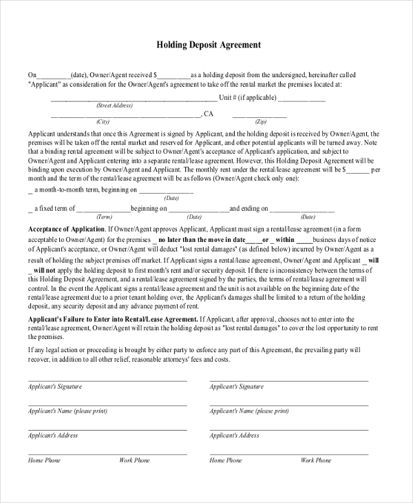 Sample Deposit Agreement Form - 11+ Free Documents in PDF