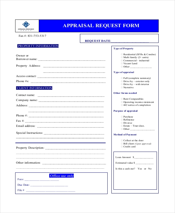 home appraisal request form