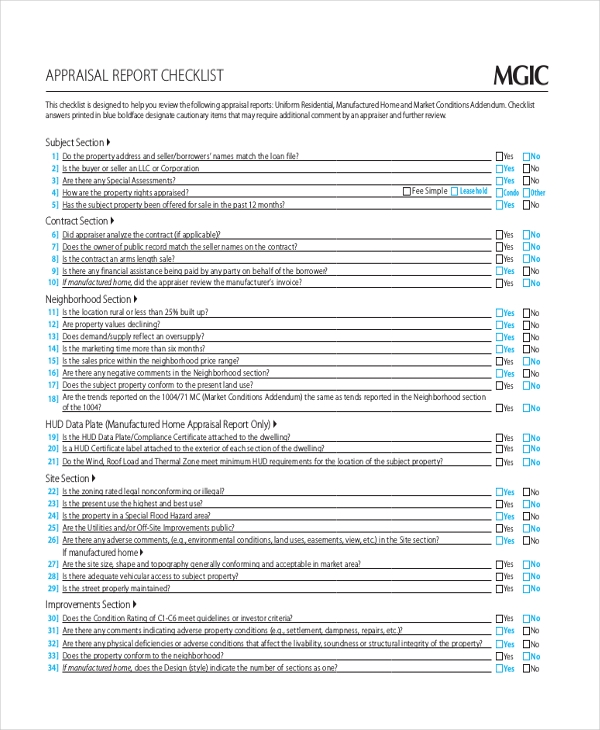 Home Appraisal Checklist Form