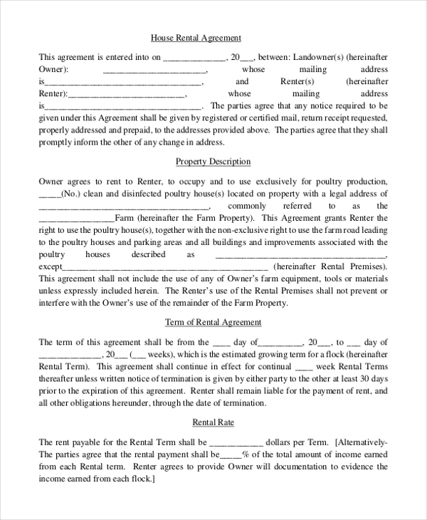Free Rental Agreement Form Sample - 9+ Free Documents In Doc, Pdf