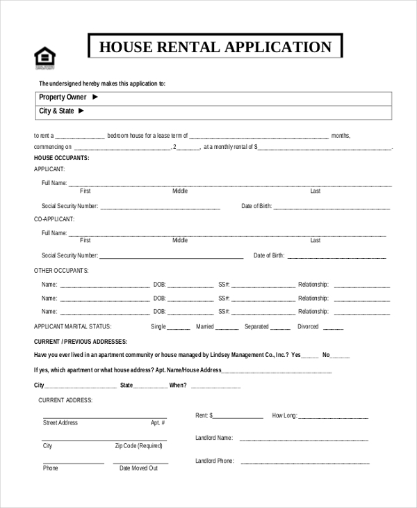 11 sample rental application forms free sample example for Housing rental application template
