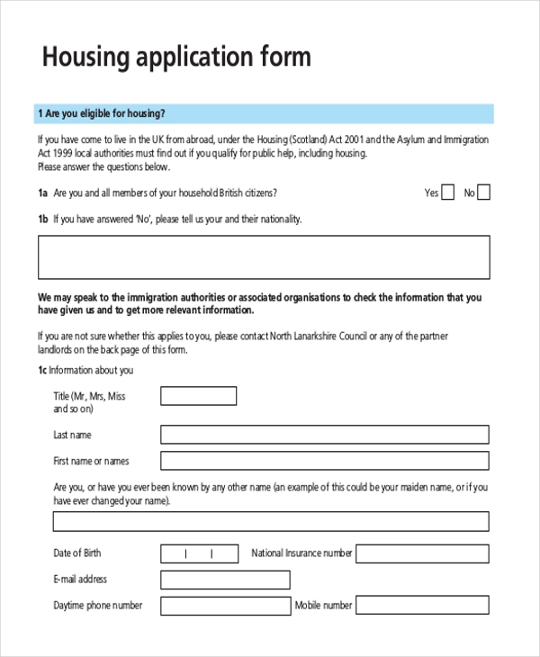 Sample Housing Application Form   Free Documents In Pdf