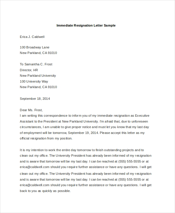 Sample Letter Of Resignation   Free Documents In Doc