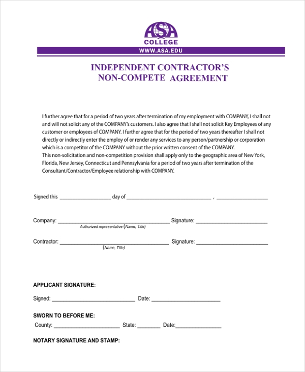 Sample Independent Contractor Agreement form - 11+ Free Documents ...