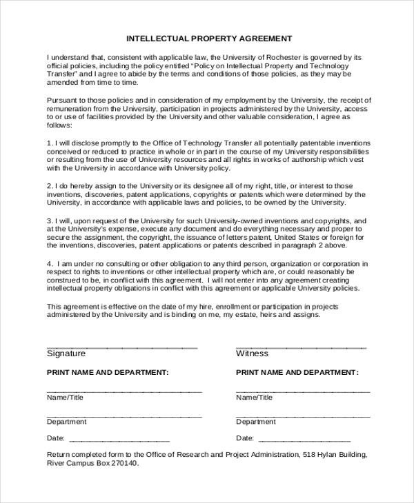 Free 9 Sample Intellectual Property Forms Pdf