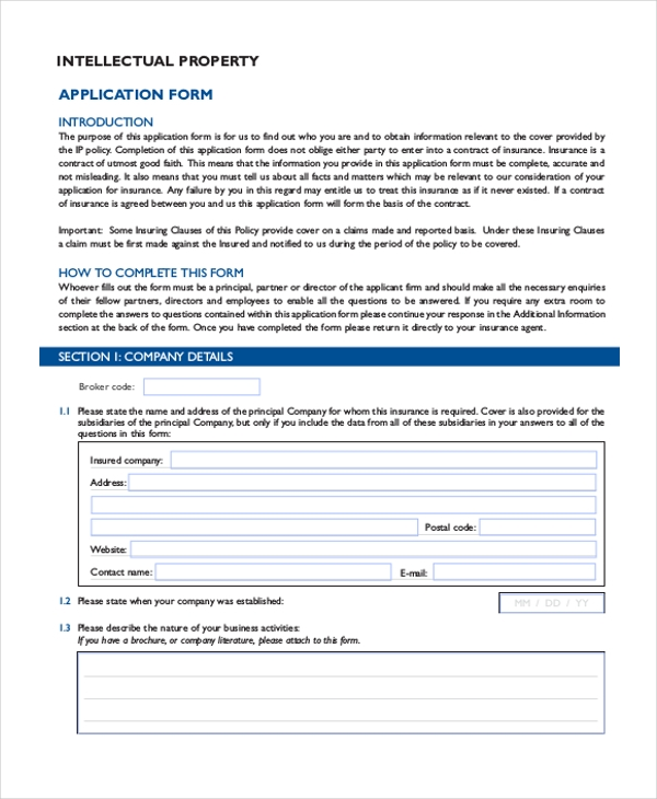 intellectual property application form