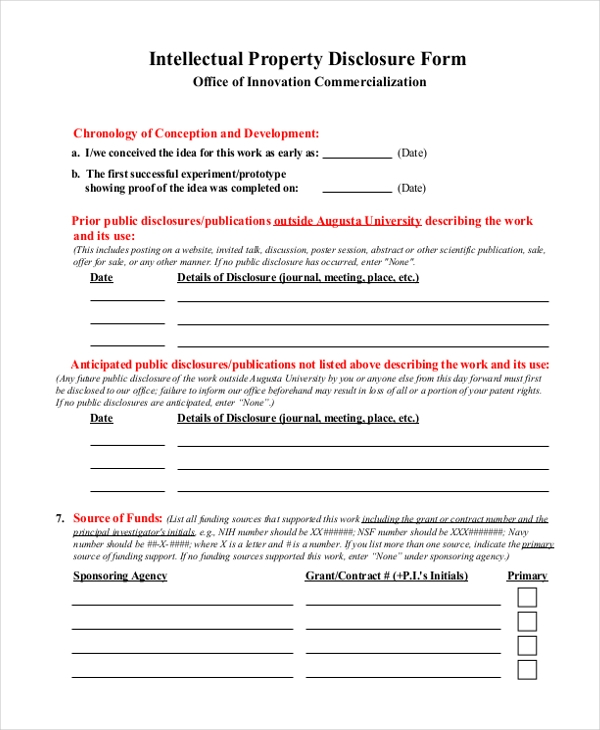intellectual property disclosure form